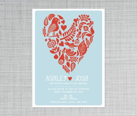 Red and light blue wedding invitation - www.etsy.com/shop/deaandbean