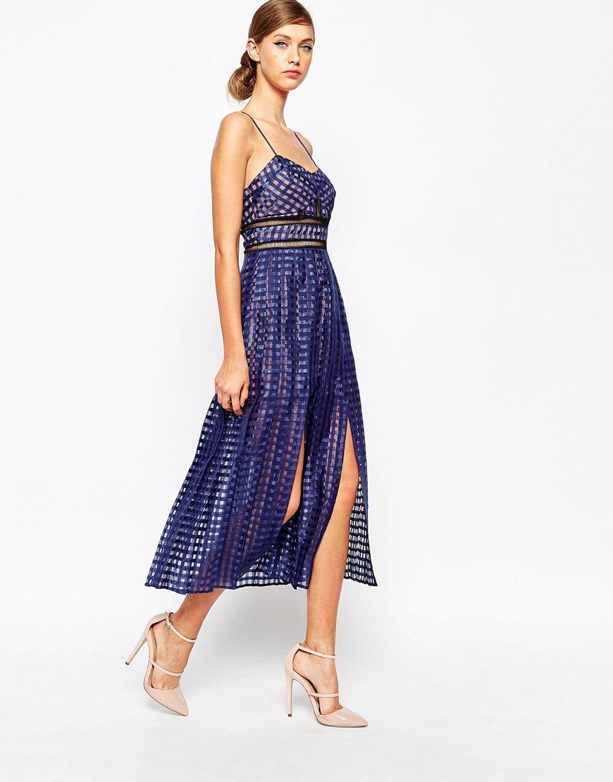 Self Portrait Sheer Check Cami Midi Dress With Pleated Skirt Asos