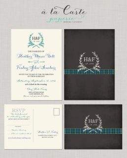 Tartan and chalkboard-style wedding invitation - www.etsy.com/shop/alacartepaperie
