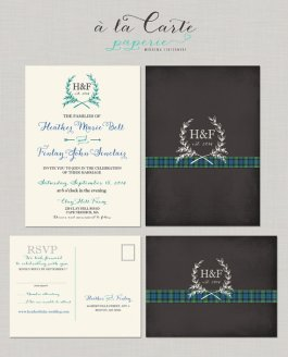 Tartan and chalkboard-style wedding invitation - www.etsy.com/shop/alacartepaperie