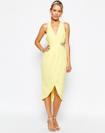 TFNC Wrap Front Plunge Midi Dress With Embellished Waist - asos.com