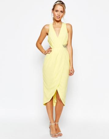TFNC Wrap Front Plunge Midi Dress With Embellished Waist - asos.com
