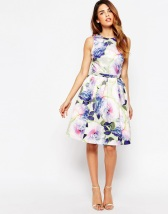 Warehouse Neon Floral Dress - asos.com