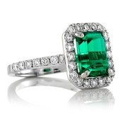 Emerald and diamond engagement ring - www.etsy.com/shop/PristineCustomRings