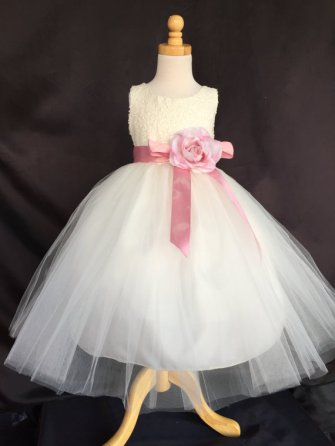 Ivory and pink flower girl dress - www.etsy.com/shop/LittleGirlsWardrobe
