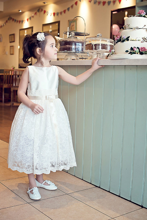 1bd954ef1ac Ivory satin and lace flower girl dress – www.etsy.com shop Damigelladonore