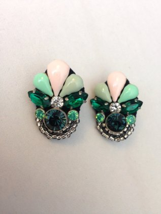 Mint and emerald Art Deco-style earrings - www.etsy.com/shop/BlushingBridalShop