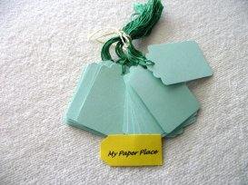 Mint and emerald placecards or gift tags - www.etsy.com/shop/mypaperplace