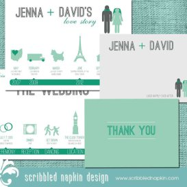 Mint and emerald wedding invitation - www.etsy.com/shop/ScribbledNapkin