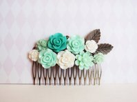 Mint green wedding comb - www.etsy.com/shop/FernandAvery