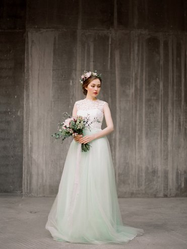 Mint wedding gown - www.etsy.com/shop/Milamirabridal