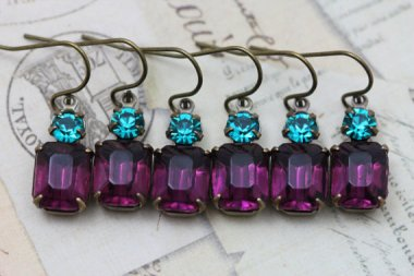 Purple and turquoise earrings - www.etsy.com/shop/inspiredbyelizabeth