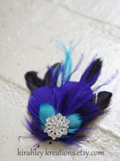 Purple and turquoise fascinator - www.etsy.com/shop/KirahleyKreations