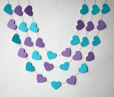 Purple and turquoise heart garland - www.etsy.com/shop/TransparentEsDecor