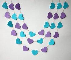 Purple and turquoise heart garland - www.etsy.com/shop/TransparentEsDecor