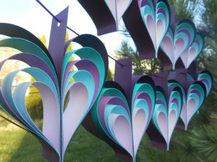 Purple and turquoise heart garland - www.etsy.com/shop/TreeTownPaper