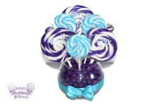 Purple and turquoise lollipop centerpiece - www.etsy.com/shop/EdibleWeddings