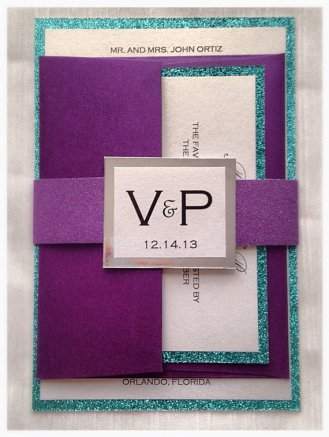 Purple and turquoise wedding invitation - www.etsy.com/shop/VPElegance