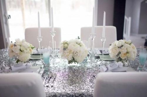 Silver and white table setting idea {via exquisitegirl.com} | The ...
