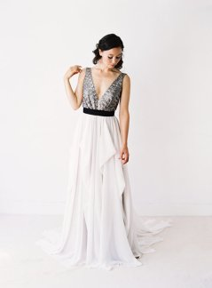 Silver and white wedding dress - www.etsy.com/shop/Truvelle