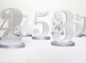 Silver wooden table numbers - www.etsy.com/shop/BotanikaStudio