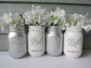 White and silver mason jars as vases - www.etsy.com/shop/theretroredhead
