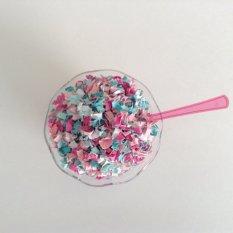 Aqua and pink confetti - www.etsy.com/shop/ConfettiPaperParty