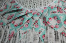 Aqua and pink floral bunting - www.etsy.com/shop/SewHappyBoutique