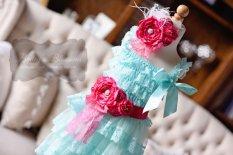 Aqua and pink flower girl dress - www.etsy.com/shop/baileysblossoms