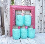 Aqua and pink shabby-chic mason vases - www.etsy.com/shop/HuckleberryVntg