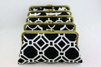 Black and white bridesmaid clutch purses - www.etsy.com/shop/FAbridal