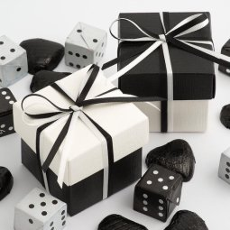 Black and white favour boxes - www.etsy.com/shop/CraftyCowsCo