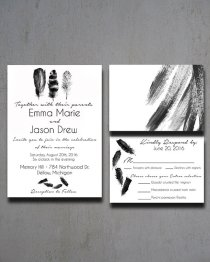 Black and white feather invitation - www.etsy.com/shop/HeartwoodPaperie