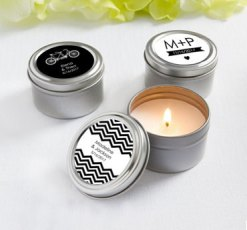 Black and white personalised candle favours - www.etsy.com/shop/EventDazzle