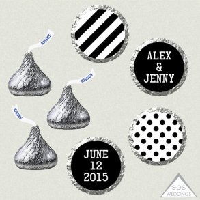 Black and white personalised Hershey's Kiss labels - www.etsy.com/shop/SOSWeddings