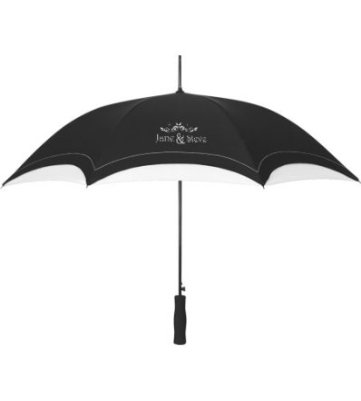 Black and white personalised wedding umbrellas - www.etsy.com/shop/INeedPromotionals