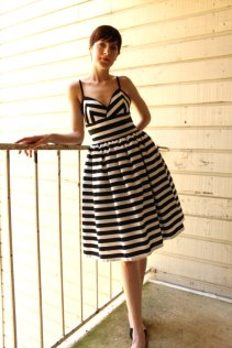 Black and white striped bridesmaid dress - www.etsy.com/shop/HiddenRoom