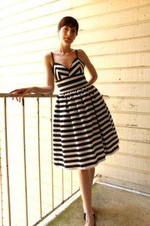 Black and white striped bridesmaid dress - www.etsy.com/shop/HiddenRoom