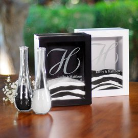 Black and white unity sand ceremony set - www.etsy.com/shop/MonogramSelection