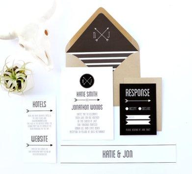 Black and white wedding invitation - www.etsy.com/shop/DAYDREAMPRINTS