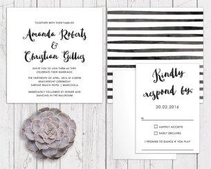 Black and white wedding invitation - www.etsy.com/shop/PeachPerfectCards