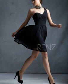 Black one-shoulder bridesmaid dress - www.etsy.com/shop/RenzRags
