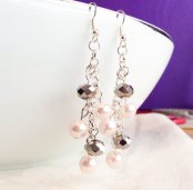 Blush and grey earrings - www.etsy.com/shop/InfinityByClaire