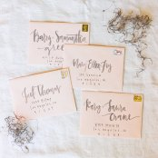 Blush and grey envelope calligraphy - www.etsy.com/shop/afabulousfete