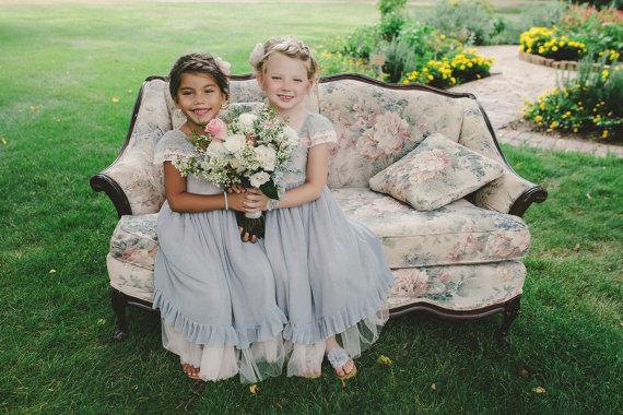 Blush and grey flower girl dresses - www.etsy.com/shop/AngelikasBoutique