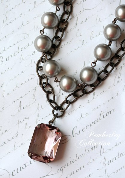 Blush and grey necklace - www.etsy.com/shop/PemberleyCollection