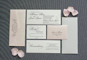 Blush and grey wedding invitation - www.etsy.com/shop/LamaWorks