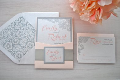 Blush and grey wedding invitation - www.etsy.com/shop/OuttheBoxCreative