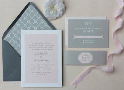 Blush and grey wedding invitation - www.etsy.com/shop/papela