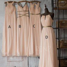 Blush bridesmaid dress in four styles - www.etsy.com/shop/RenzRags